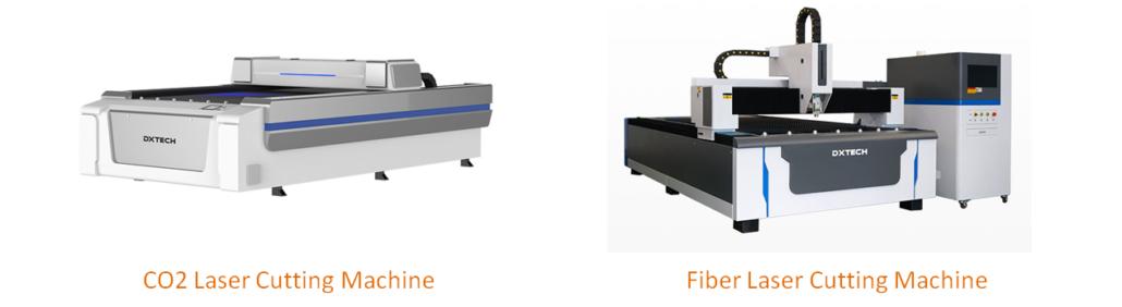 máquina de corte a laser co2 e máquina de corte a laser de fibra